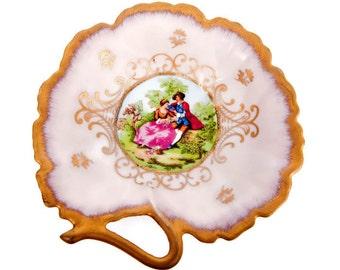 Vintage Lefton Candy Dish Nut Bowl Hand Painted Victorian Courting Scene Pink Gold Trinket Holder