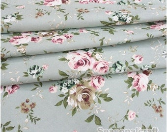 Cotton Canvas Fabric, Green Shabby Chic Style, Rose Flower Pattern, Canvas Fabric  1/2 Yard (QT802)