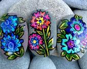 Magnet set / wildflower magnets / paintedrocks / painted stones / fridge magnets / refrigerator magnets / boho decor / hippie art / rock art