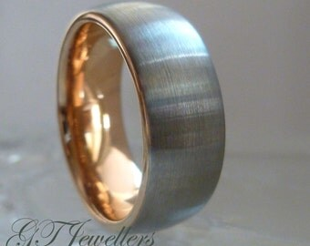Tungsten Wedding Ring,Brushed Rose Gold Tungsten Ring, 8mm, 6mm, Engagement, Mens Womens Tungsten Ring TR71, Custom