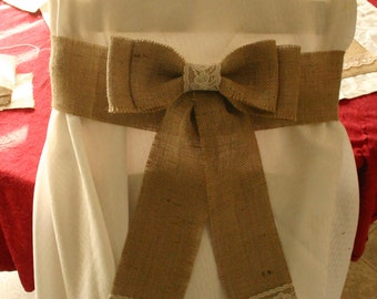 Burlap and lace chair bows for wedding's
