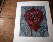 Pomegranate on Turkish Tulips woodcut print small edition