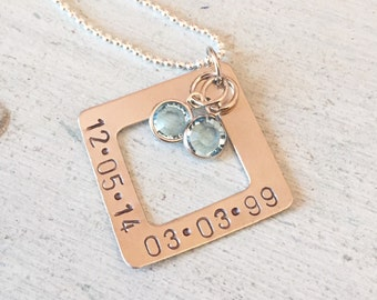 Personalized hand stamped date or name necklace. Mother's Day gift.  Square. Numbers. Letters. Birthstones. Name necklace. Gift for her.