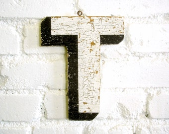 "Vintage Carnival Letter ""T"" Antique Original Old Hand Painted Sign Letter Primitive Shabby Chic Folk Art Circus Wood Sign Letter"