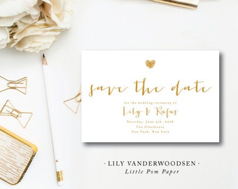 Lily VanDerWoodsen Suite Design | Wedding Save the Date | Gold Invitation | Printed by Darby Cards Collective