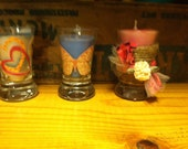 Shotglass candle trio--hearts butterfly shabby chic