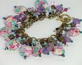Aqua and purple roses charm bracelet, vintage style window charm, antique brass boho polymer lace bracelet, pink lavender white fuchsia