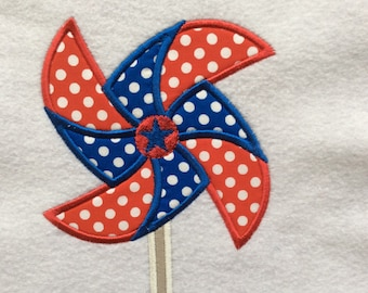 Patriotic Red, White, and Blue Pinwheel Applique Shirt or Onesie