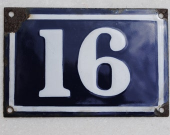 Vintage French enamel cobalt blue and white house number plaque - number 16