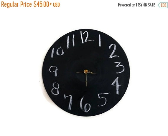 CIJ Sale, Chalkboard Clock, Decor and Housewares, Wedding Gift, Home and Living, Home Decor, Record Clock, Wall Clock, Unique Gift