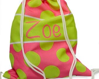 Personalized Hot Pink and Lime Polka Dot Drawstring Bag