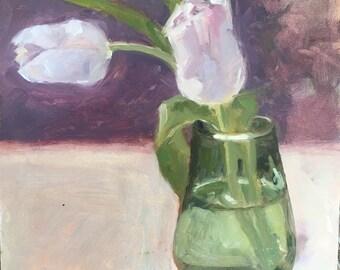 Market tulips, original oil painting, 6x6