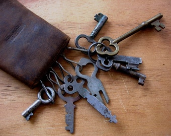 Vintage Keys in Leather Case 8 Different Antique Collectible Variety Hollow Barrel Skeleton Padlock Keys Rusty Metal Keys in Case as Found