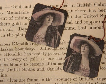 Molly Brown earrings Titanic history mixed media jewelry