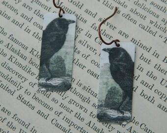 Raven jewelry Crow earrings Edgar Allan Poe jewelry art jewelry mixed media jewelry