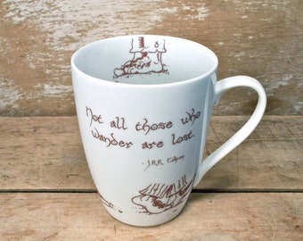 Hobbit Feet Mug, Not All Who Wander Are Lost, JRR Tolkien, Large Tea Cup Teacup Mug, Cute 14 oz Porcelain Coffee Cup, Lord of the Rings