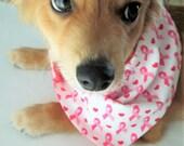 Dog Bandana ~ Tie on Dog Bandana ~ Reversible Dog Bandana - Think Pink Dog Bandana ~ Breast Cancer Awareness ~ Medium / large dog
