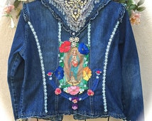 Queen Of Heaven Reliquary Denim Jacket Altered Haute Couture Glass Beads Rhinestones Flowers Gorgeous OOAK