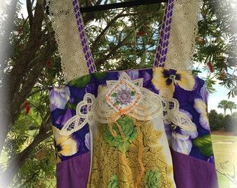 Boho Juicy Purple-Lichious Summer Maxi Dress Crocheted Sleeves Silks Blossoms Size XL