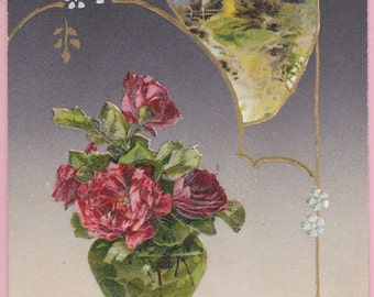 "Ca. 1908 ""Vase of Roses & a Pastoral Scene"" New Years Greetings Postcard - 1573"