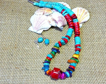 20 Inch Rustic Turquoise, Coral, and Mother of Pearl Necklace with Earrings
