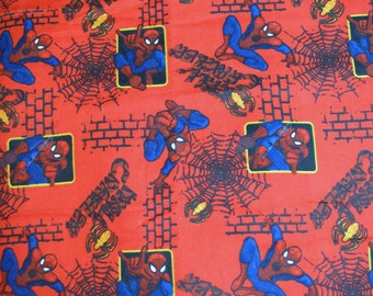 Spiderman flannel fabric.   Fabric by the yard.  22 inches total.  100% cotton.