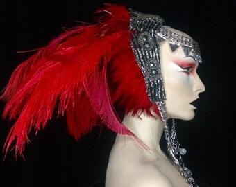 READY TO SHIP Tribal red warrior Inspired art headdress headpiece avant gard fantasy fairy