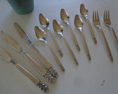 """Vintage IS  """"Norse"""" flatware -- 11 pieces --SIX teaspoons, two salad forks and three table knives -- International Silver Deluxe"""