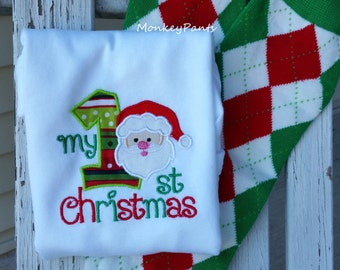 My First Christmas Outfit - Baby Boy 1st Christmas Outfit -  Matching Leg Warmers - Boy or Girl Christmas Bodysuit