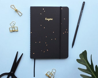 PRE-ORDER Black Speckle 2017 Gold Foil Personalized Planner