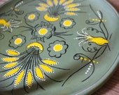 Hand Painted Circular Tray - Olive Green
