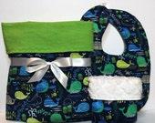 Baby gift set, boy blanket, burp cloths, boy gift, new baby gift set, nautical baby, toddler, flannel blanket, receiving blanket, bibs, girl