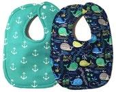 Nautical Bib Set - Nautical Baby Bibs - Whale Bibs - Boy Bibs - Fish Bibs - Anchor Bibs - Cotton Baby Bibs - Toddler Bibs - Dribble Bibs