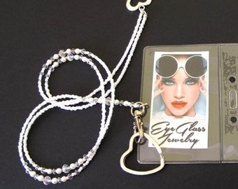 Lanyard, White pearl crystal, Beaded ID holder, Badge clip holder, Fashion accessory, Handmade lanyard