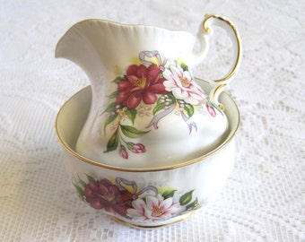 Paragon China Sugar Bowl and Creamer, Wedding Bouquets Collection, Camelia, SUMMER SALE