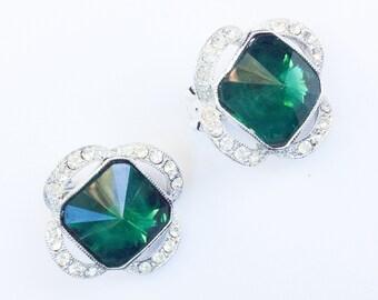 Green Glass Earrings, Tivoli Cut, Silver Tone, Art Deco Transitional Vintage Jewelry SUMMER SALE