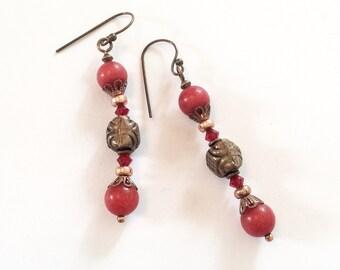 Ruby Earrings, Copper Settings, Dangly, Pierced, Vintage Jewelry, CHRISTMAS IN JULY Sale