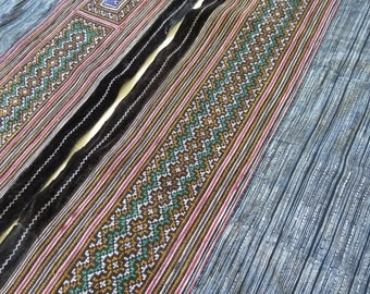 Handwoven cotton Vintage fabrics,  Indigo Blue, Hmong, Fabric and textiles, Table runner- from Thailand