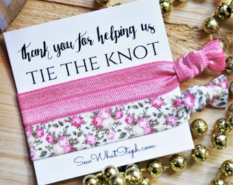 Wedding Gift Favor Hair Ties / Thank you for helping us TIE THE KNOT / Wedding Favor / Bridesmaid Gift / Hair Bands
