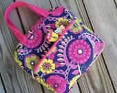 Planner tote bag Erin Condren Happy Plum Paper Planner Zippered case pouch with Handles