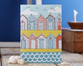 Beach Huts Greeting card - Coastal Art card - Seaside greetings card - Beach hut coastal card