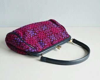 Vintage 60s Tapestry Bag / 1960s Welsh Wool Handbag Carpet Bag Purple Burgundy Navy / Made in Wales