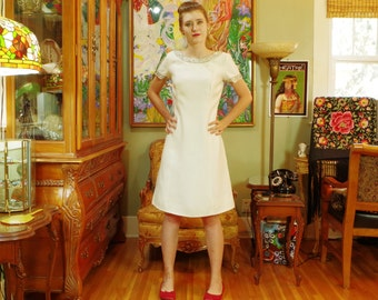 Mod Wedding . Vintage 1960's Beaded White Shift . Elegant Party Sheath . Carnaby Street Sweet . Biba Retro Cool . R & K Originals label .