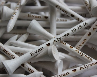 100 White Personalized Golf Tees, Engraved Golf Tees, Wedding Favors, Groomsman Gifts, Gifts for Groomsmen, Wedding Gifts
