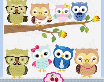 Grandma owl and Grandpa owl,Cute Owls Digital Clipart Elements Set AN055,Owls Digital Clip Art