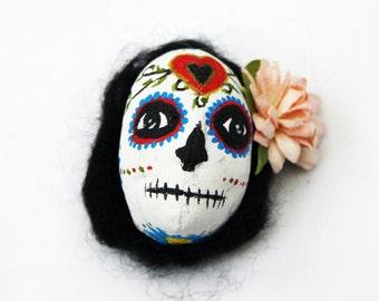 Art doll Sugar Skull Brooch