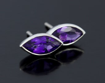 Purple Amethyst Earrings Studs in Sterling Silver. February Birthstone, Marquise Cut Amethyst Stud Earrings in 925 Sterling Silver - CS1517