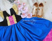 Frozen Anna Inspired Dress with Flutter Sleeves - Disney Anna Dress - Frozen Birthday Dress - Frozen Anna Costume