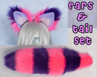 Fluffy Cheshire Cat Ear and Tail Set Luxury, Cosplay, Accessories, Costume