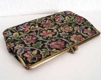 Vintage Tapestry Clutch Keyhole Wristlet Floral Bag 1950s